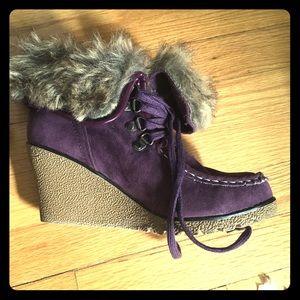 Purple wedge ankle booties